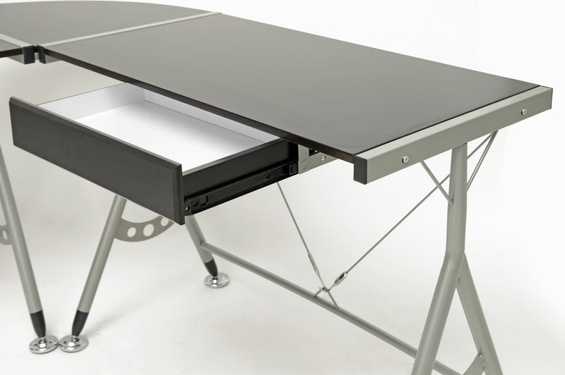 Contemporary Steel Computer Desk in Dark Brown