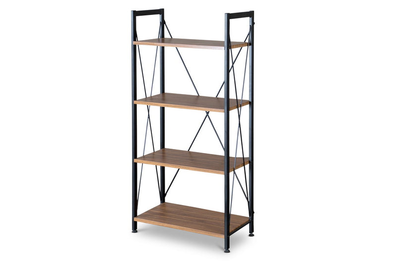 Modern Industrial Bookshelf in Coffee & Black