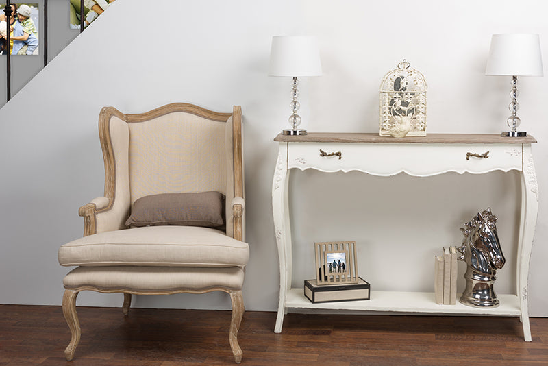 Traditional Shabby Chic Console Table in White/Light Brown