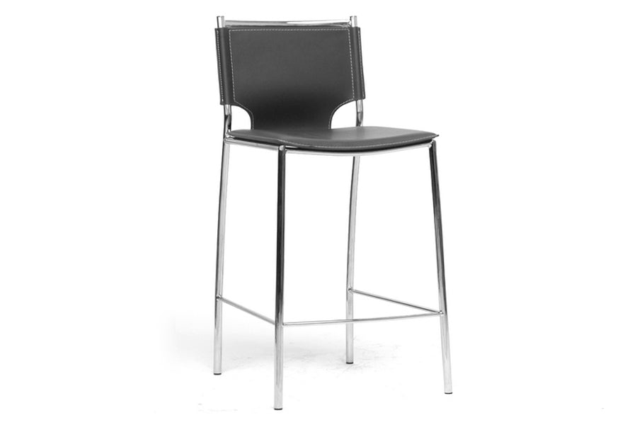 Modern 2 Stainless Steel Counter Height Stool in Black Faux Leather