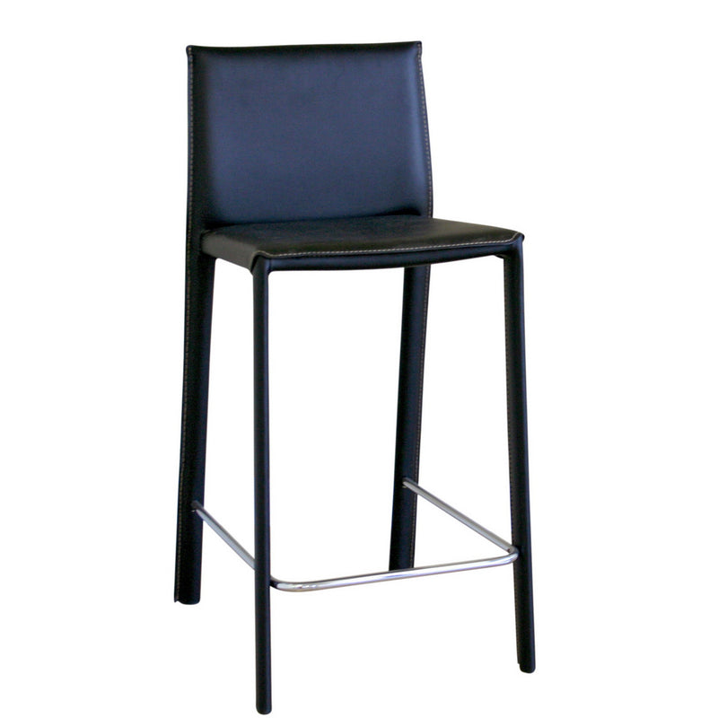 Modern 2 Stainless Steel Counter Height Stool in Black Bonded Leather