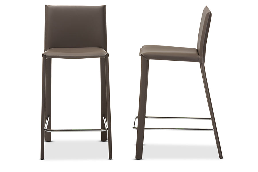 Modern 2 Upholstered Counter Height Stools in Taupe Bonded Leather & Stainless Steel