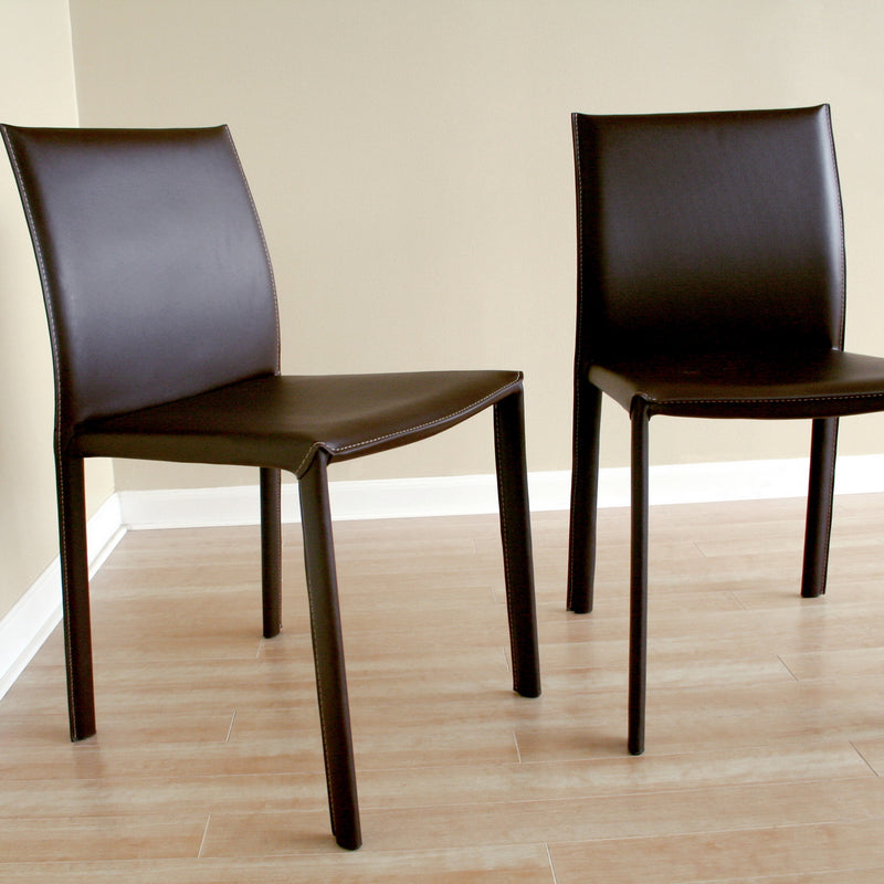 Modern 2 Bar Stools in Brown Bonded Leather