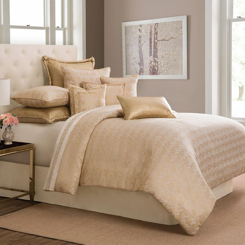 Aico Amini Aurora 9 pc Queen Comforter Set in Gold
