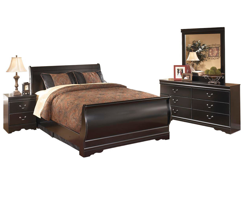 Ashley Huey Vineyard 4PC E King Sleigh Bedroom Set In Black