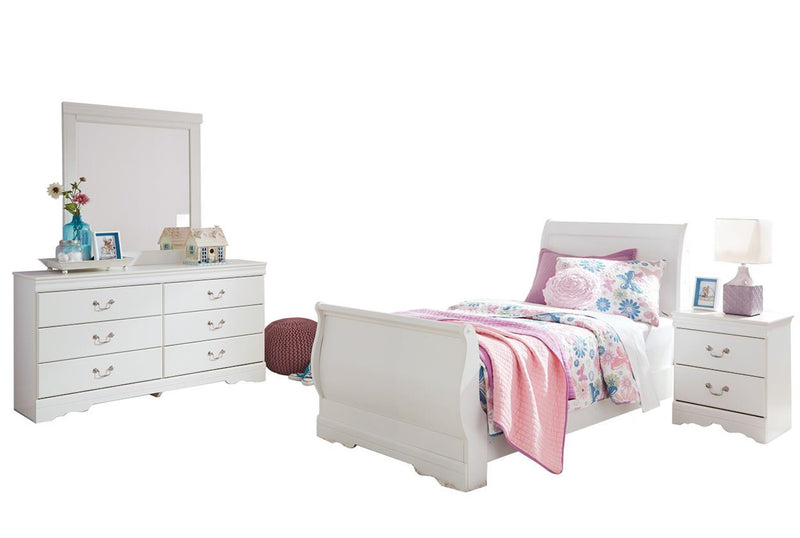 Ashley Anarasia 4PC Full Sleigh Bedroom Set In White