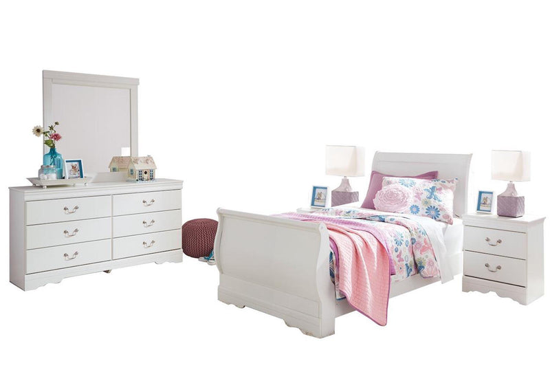 Ashley Anarasia 5PC Full Sleigh Bedroom Set With 2 Nightstands In White