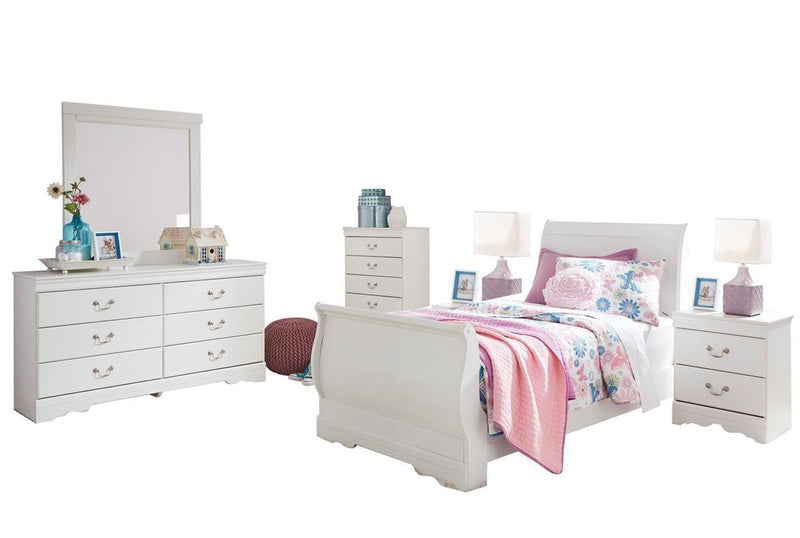 Ashley Anarasia 6PC Twin Sleigh Bedroom Set With 2 Nightstand & Chest In White