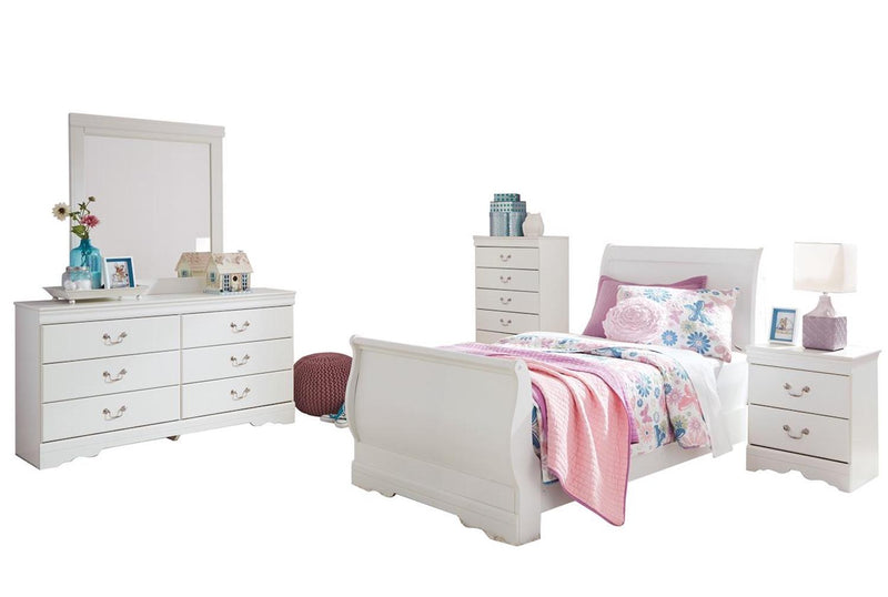 Ashley Anarasia 5PC Twin Sleigh Bedroom Set With Chest In White