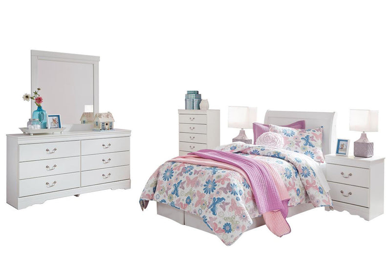 Ashley Anarasia  6PC Full Sleigh Headboard Bedroom Set With 2 Nightstand & Chest In White