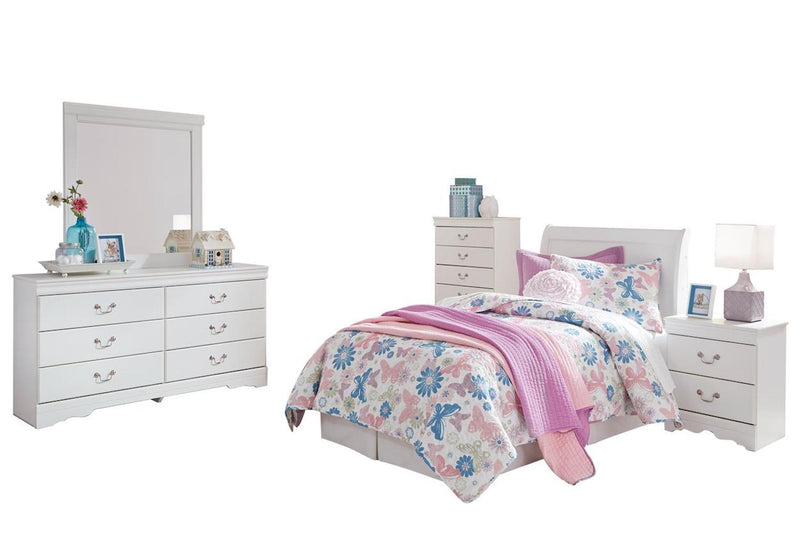 Ashley Anarasia 5PC Full Sleigh Headboard Bedroom Set With Chest In White