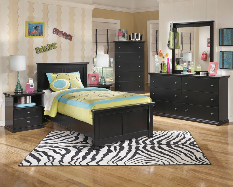 Ashley Maribel 5 PC Twin Panel Bedroom Set with two Nightstands in Black - The Furniture Space.