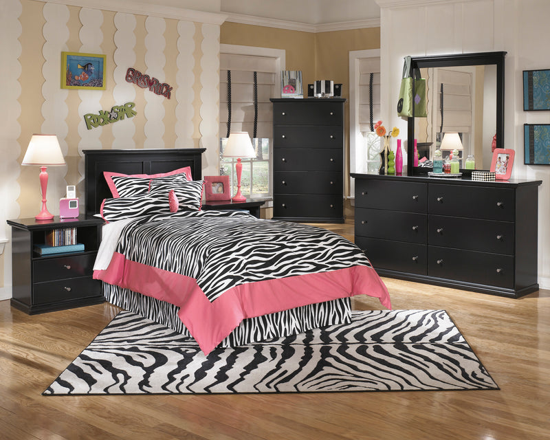 Ashley Maribel 6 PC E King Panel Headboard Bedroom Set with Two Nightstand & Chest in Black