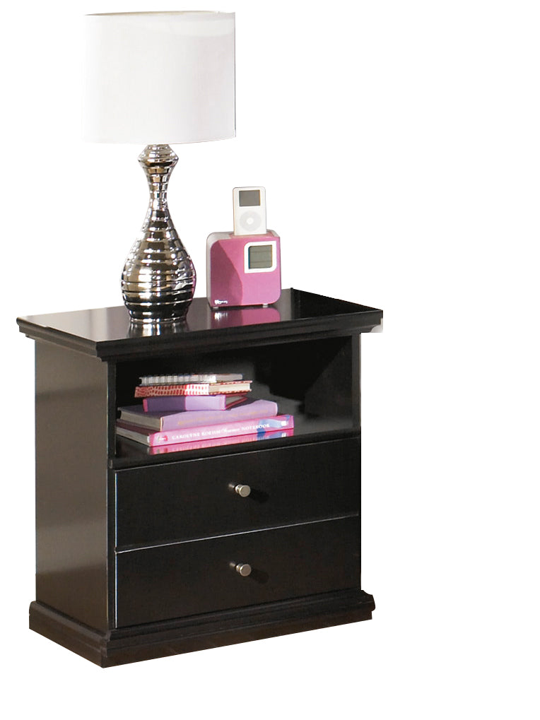 Ashley Maribel One Drawer Nightstand in Black - The Furniture Space.