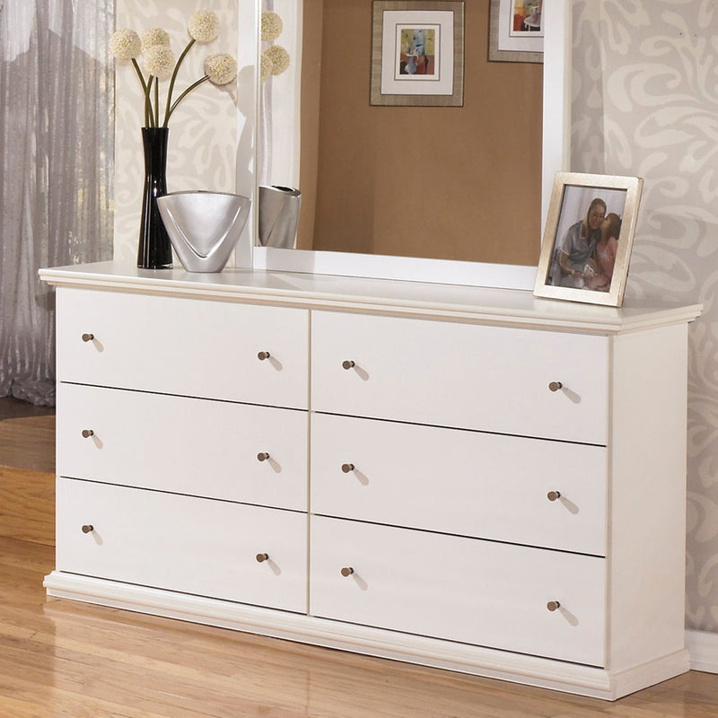 Ashley Bostwick Shoals Six Drawer Dresser in White - The Furniture Space.