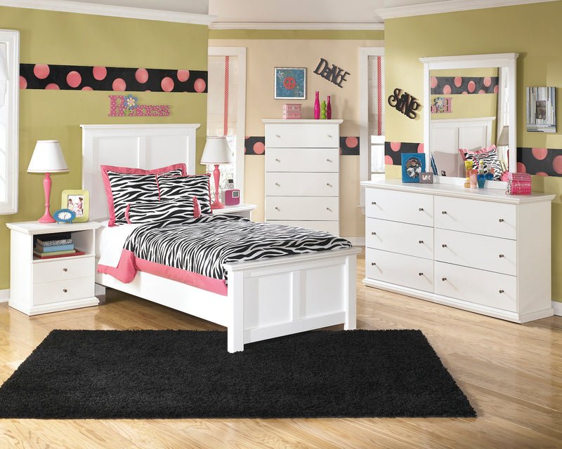 Ashley Bostwick Shoals 6 PC Twin Panel Bedroom Set with Two Nightstand & Chest in White - The Furniture Space.