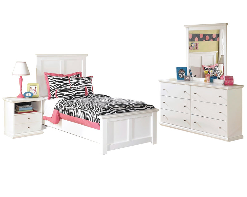 Ashley Bostwick Shoals 4 PC Twin Panel Bedroom Set in White - The Furniture Space.