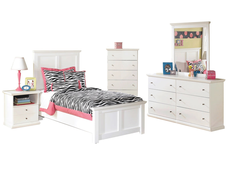 Ashley Bostwick Shoals 5 PC Twin Panel Bedroom Set with two Nightstands in White - The Furniture Space.