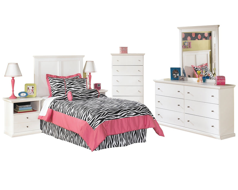 Ashley Bostwick Shoals 6 PC Full Panel Headboard Bedroom Set with Two Nightstands & Chest in White - The Furniture Space.