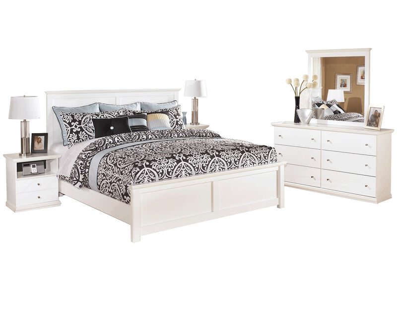 Ashley Bostwick Shoals 5 PC Queen Panel Bedroom Set with two Nightstands in White - The Furniture Space.