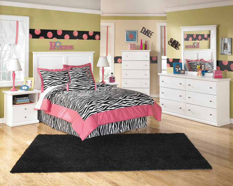 Ashley Bostwick Shoals 4 PC Queen Panel Headboard Bedroom Set in White - The Furniture Space.