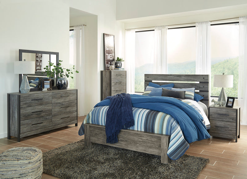 Ashley Cazenfeld 4PC Queen Panel Bedroom Set In Black/Gray - The Furniture Space.