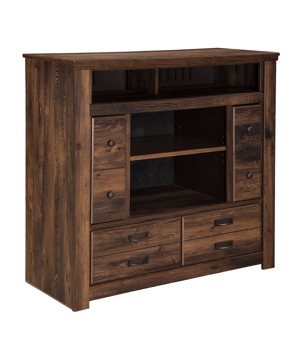 Ashley Quinden Media Chest in Dark Brown