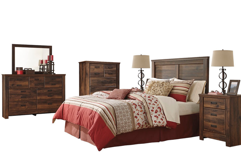 Ashley Quinden 6 PC E King Panel Headboard Bedroom Set with 2 Nightstand and Chest in Dark Brown