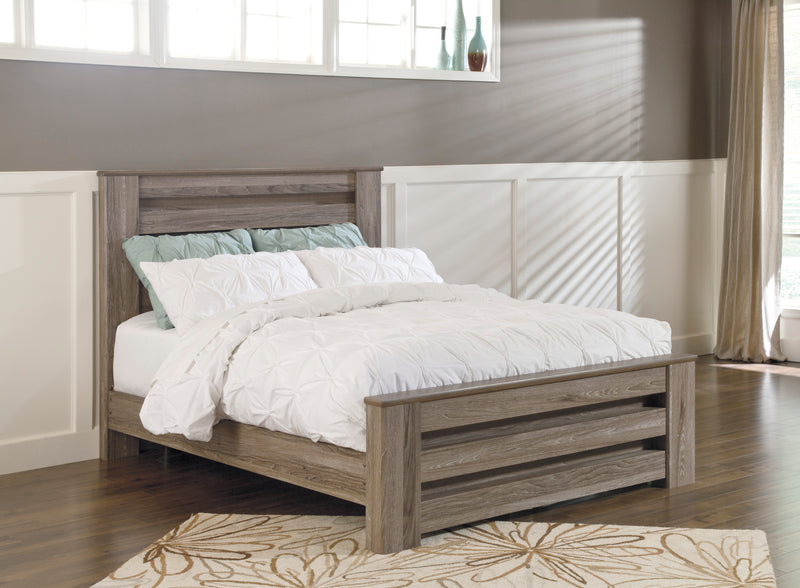 Ashley Zelen E King Panel Bed In Warm Gray