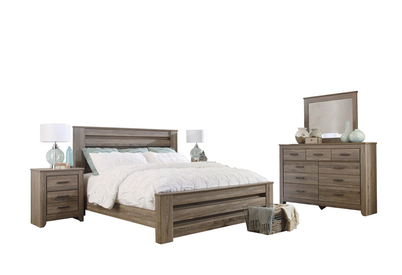 Ashley Zelen 5PC Queen Panel Bedroom Set With Two Nightstand In Warm Gray