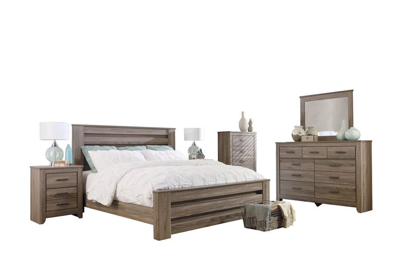 Ashley Zelen 6PC E King Panel Bedroom Set With Two Nightstand & Chest In Warm Gray