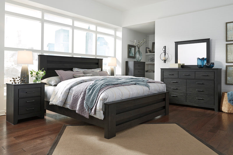 Ashley Brinxton 6PC E King Poster Bedroom Set With Two Nightstand & Chest In Black