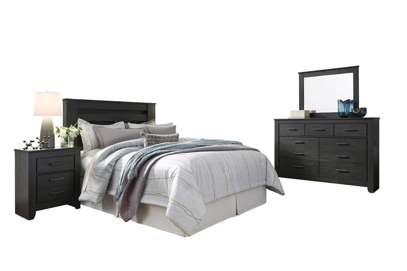 Ashley Brinxton 4PC Queen Full Headboard Bedroom Set In Black