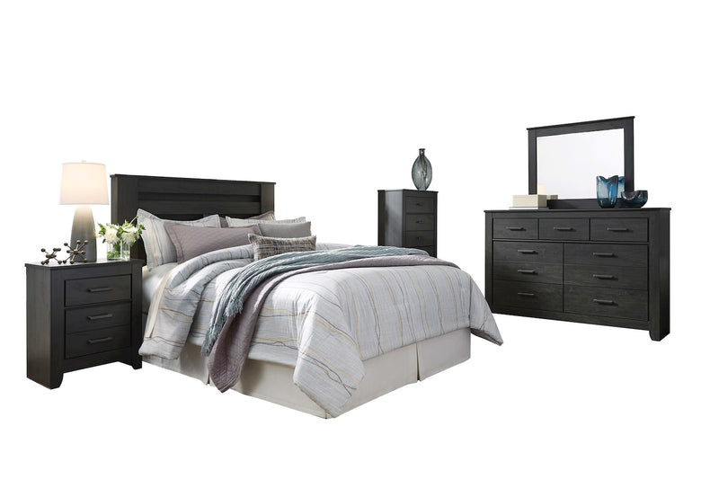 Ashley Brinxton 5PC E King Poster Headboard Bedroom Set With Chest In Black