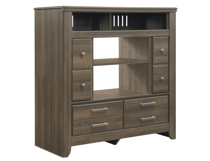 Ashley Juararo  Media Chest W/Fireplace Option In Dark Brown