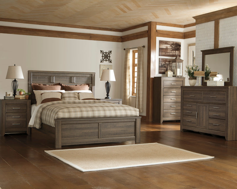 Ashley Juararo 5PC Cal  King Panel Bedroom Set With Chest In Dark Brown