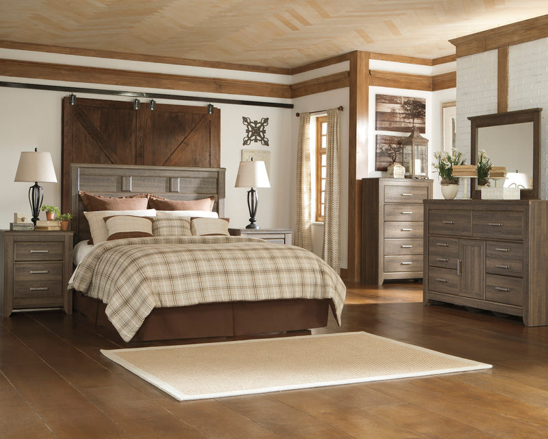 Ashley Juararo 5PC E King/Cal  Panel Bedroom Set With Two Nightstand In Dark Brown