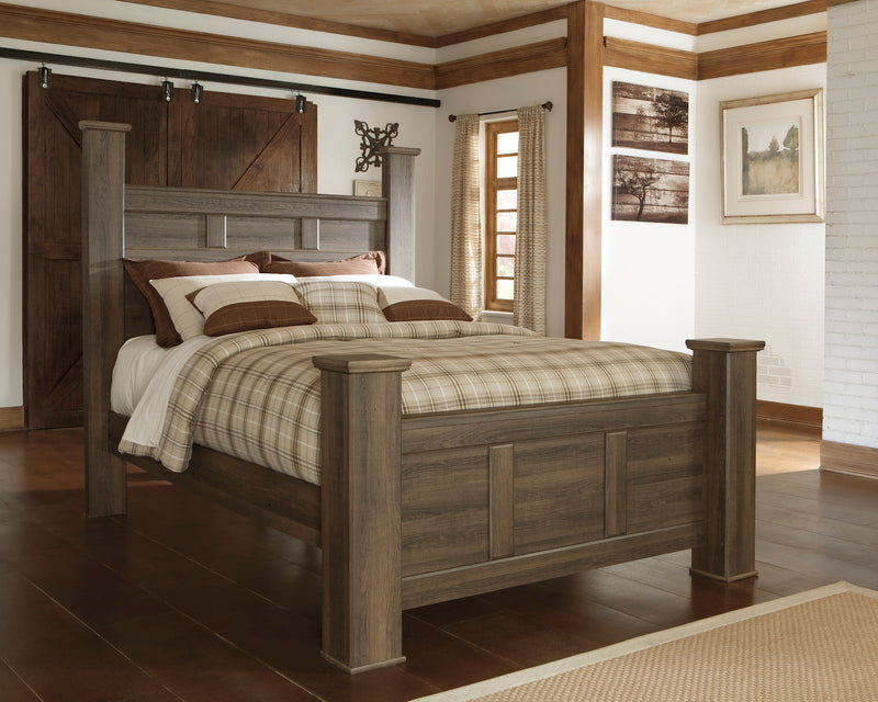 Ashley Juararo Cal King Poster Bed In Dark Brown