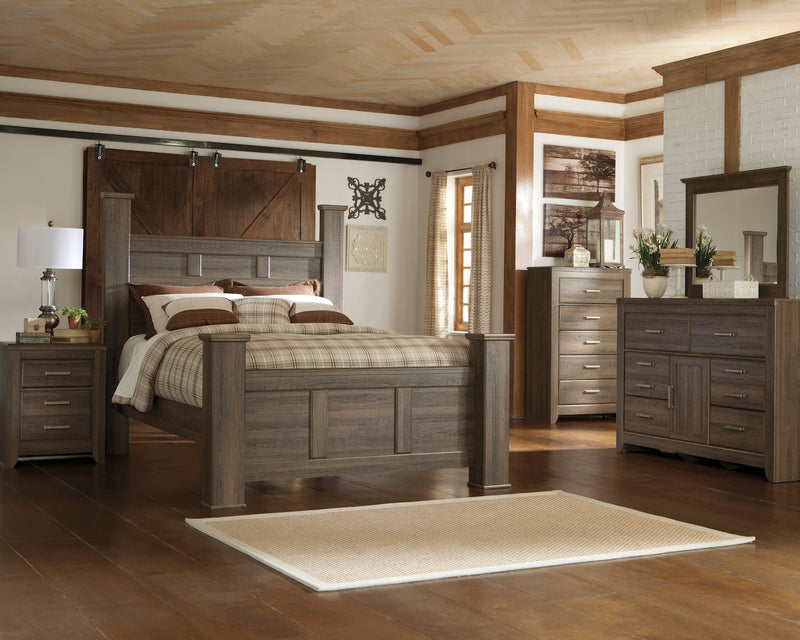 Ashley Juararo 6PC E King Poster Bedroom Set With Two Nightstand & Chest In Dark Brown