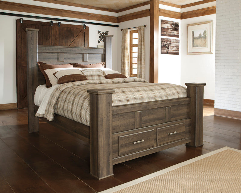 Ashley Juararo E King Storage Bed In Dark Brown