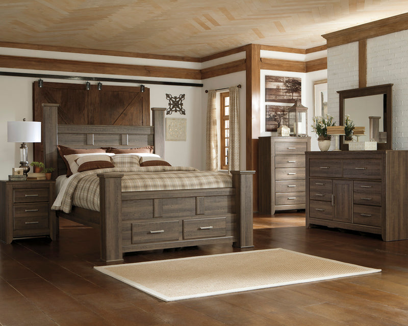 Ashley Juararo 6PC Queen Storage Bedroom Set With Two Nightstand & Chest In Dark Brown