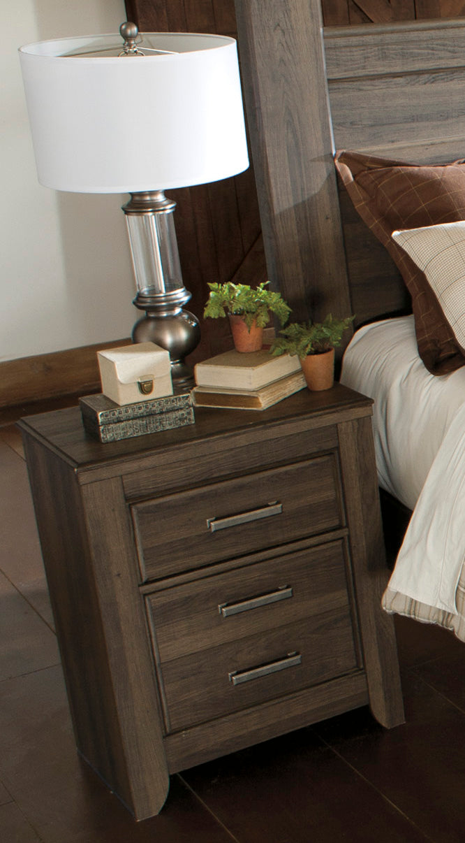 Ashley Juararo Two Drawer Nightstand In Dark Brown