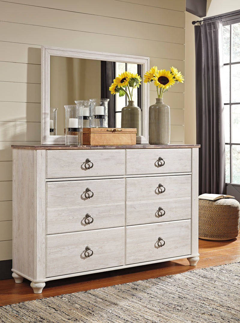 Ashley Willowton  Dresser & Mirror In White - The Furniture Space.