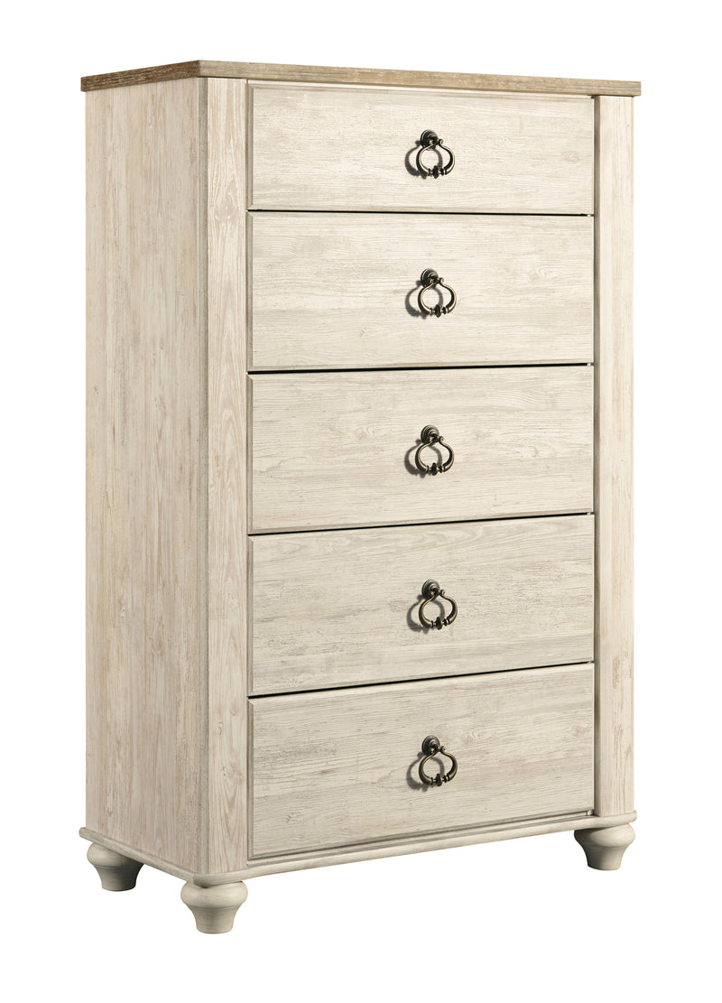 Ashley Willowton 6PC E King Panel Headboard Bedroom Set With Two Nightstand & Chest In White - The Furniture Space.