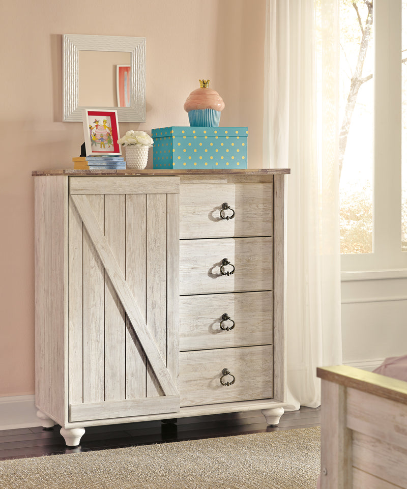 Ashley Willowton Dressing Chest In White - The Furniture Space.