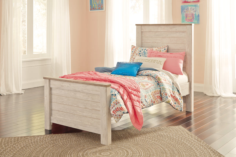 Ashley Willowton Twin Panel Bed In White - The Furniture Space.