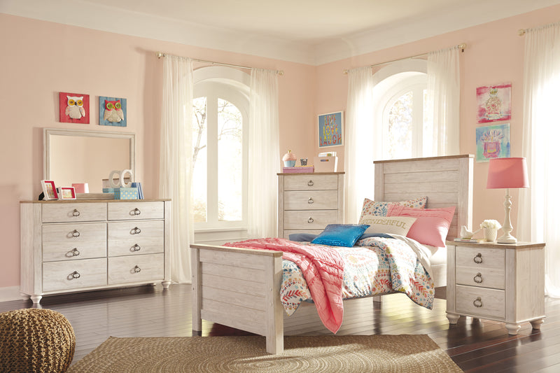 Ashley Willowton 4PC Full Panel Headboard Bedroom Set  In  White - The Furniture Space.