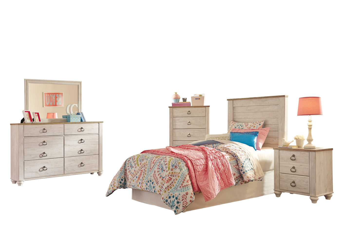 Ashley Willowton 5 Pc Twin Panel Bedroom Set With Chest In White The Furniture Space