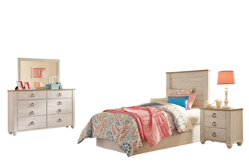 Ashley Willowton 4PC Twin Panel Headboard Bedroom Set  In White - The Furniture Space.