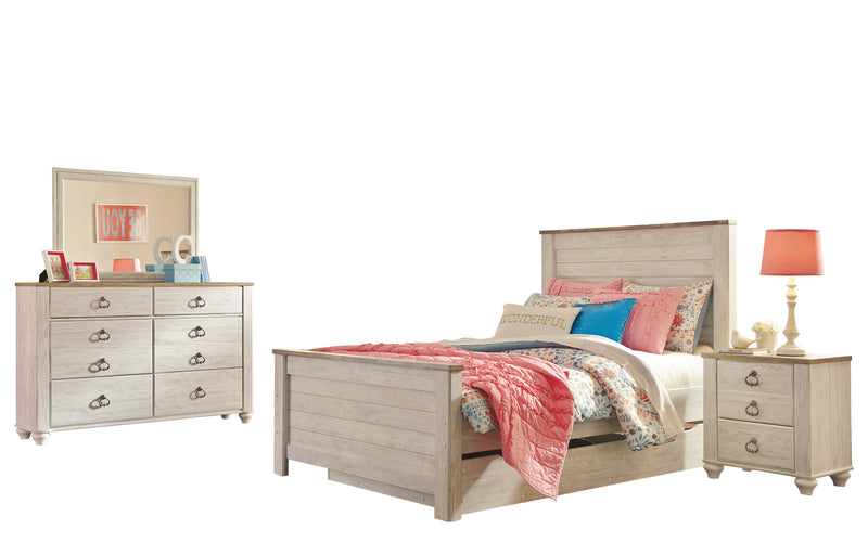 Ashley Willowton 4PC Twin Trundle Bedroom Set In White - The Furniture Space.